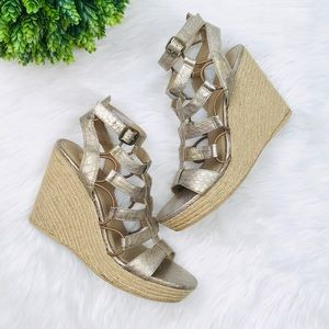 [Yellow Box] Fox Bronze Gold Espadrilles Wedges